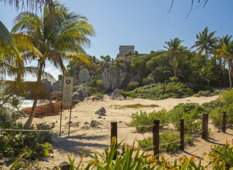 Deserted mayan beach in Tulum archaeological zone, Mexico