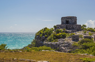 Beautiful ancient temple and sea  in archaeological zone Tulum,