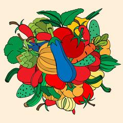 Set of hand drawn vegetables. Doodles, vector illustration. Isol