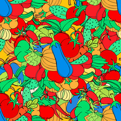 Seamless background of vegetables and spices, vector hand-drawn