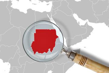 Cartina del Sudan sotto la lente