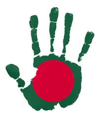 Handprints with Bangladesh flag.Isolated on white background.