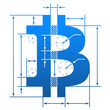 Bitcoin symbol with dimension lines. Blueprint drawing element