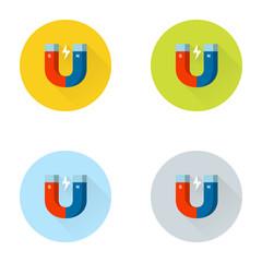 Magnet Flat Icon Set
