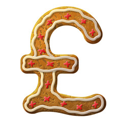 Gingerbread pound decorated colored icing. Holiday cookie