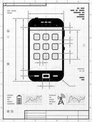 Smartphone as technical drawing. Drafting of phone