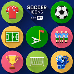 Color flat icon set of soccer elements. Pack of football symbols