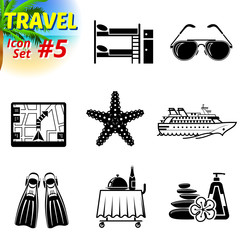 Set of black-and-white travel icons. Tourism and vacation signs