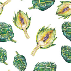 watercolor artichoke pattern