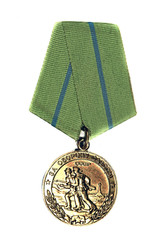 "Medal ""For the Defence of Odessa"" on a white bac"