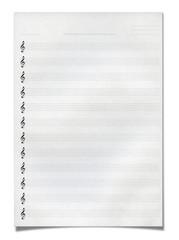 Blank music sheet, isolated on white