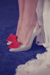 Beautiful shoes with red hearts