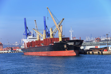 Large container ship in a dock at port, Haydarpasa, Istanbul, Tu