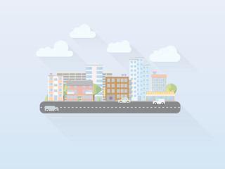 Flat Design Cityscape Vector Illustration