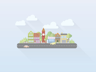 Flat Design Small Town Vector Illustration