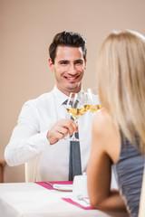 Happy couple at restaurant