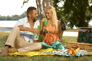 Young casual couple drinking champagne at picnic