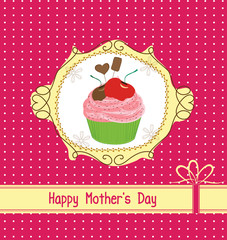 mothers day card with cupcake