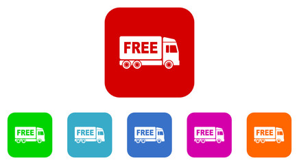 free delivery flat icon vector set
