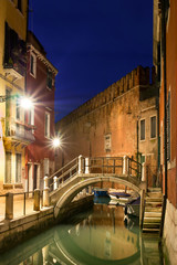 Night street and channel in Venice