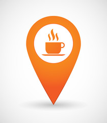 Map mark icon with a coffee cup