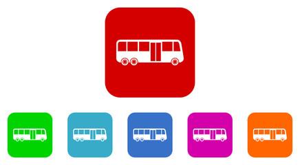 bus flat icon vector set