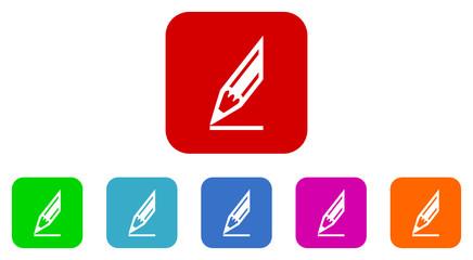 pencil flat icon vector set