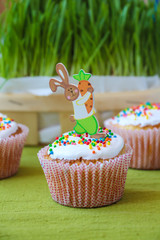 Easter bunny on the muffin