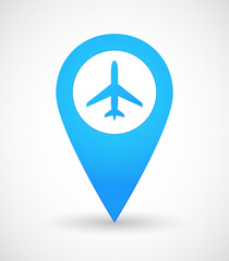 Map mark icon with a plane