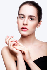 Young beautiful woman with day makeup and  green pistachio colou