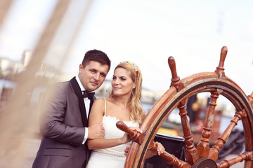 Bride and groom on a boat