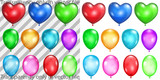 Set of transparent and opaque balloons poster