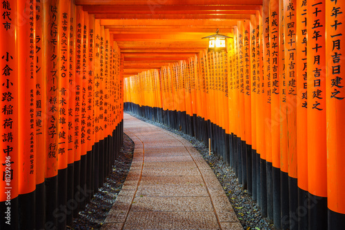 Foto Spatwand Japan Torii gates in Fushimi Inari Shrine, Kyoto, Japan
