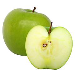 Apfel und Apfelhälfte Granny Smith