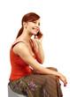 woman speaks by black mobile phone