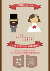 Wedding invitation card in brown tone.