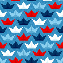 Seamless Pattern Paperboats & Waves Blue/Red/White