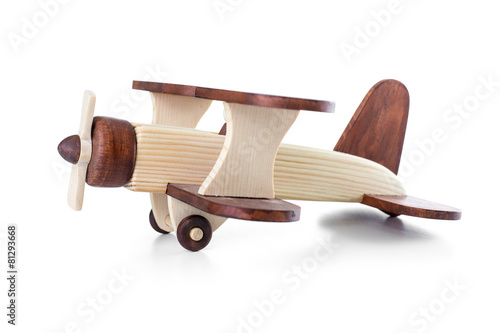 Wooden airplane model side view isolated - 81293668