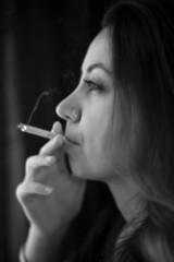 Smoking cute girl.