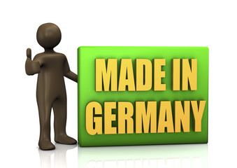 Schild Made in Germany, 3D Illustration, schwarze Comic-Figur