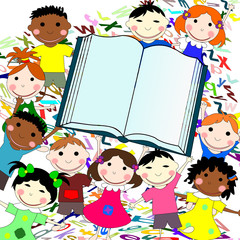 Funny kids of different races with big book on a white backgroun