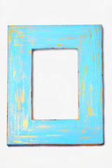 Blue and gold painted distressed wooden frame