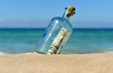 Botella con dólares en la playa solitaria