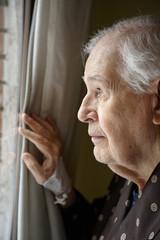 Elderly man in a hospital room