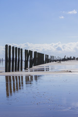 Man made wooden structures Spurn Point UK