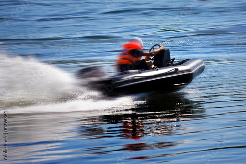 Staande foto Water Motorsp. Rushing boat during the race