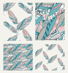 Set of Drawn Patterns with Tribal Feathers