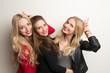 Obrazy na płótnie, fototapety, zdjęcia, fotoobrazy drukowane : Frauen machen Foto vor Photobooth