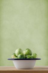Brussels Sprouts in Enamel Cooking Pan