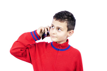 cute boy with phone isolated on white